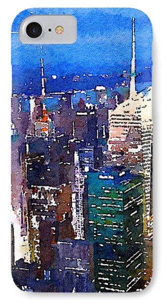 New York Time Square - Watercolor IPhone Case by Marianna Mills
