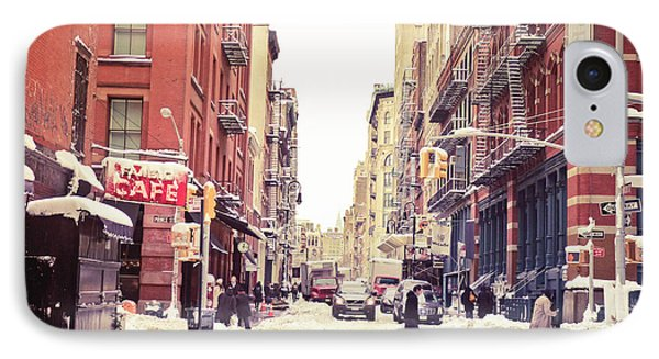 New York Winter - Snowy Street In Soho IPhone Case by Vivienne Gucwa