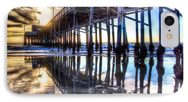 IPhone Case featuring the photograph Newport Beach Pier - Reflections by Jim Carrell
