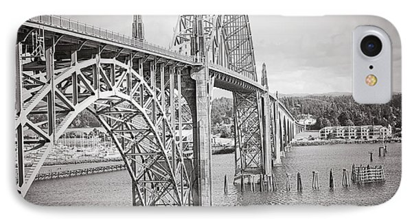 Newport Bridge In Black And White IPhone Case by Janie Johnson