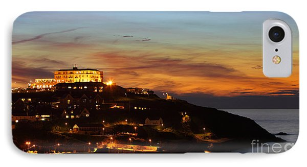 Newquay Harbor At Night IPhone Case by Nicholas Burningham