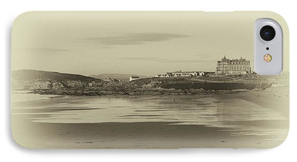 IPhone Case featuring the photograph Newquay With Old Watercolor Effect  by Nicholas Burningham