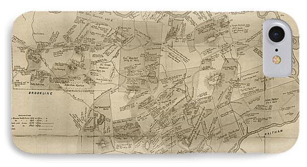 Newton Ma City Plans From 1700 Sepia IPhone Case