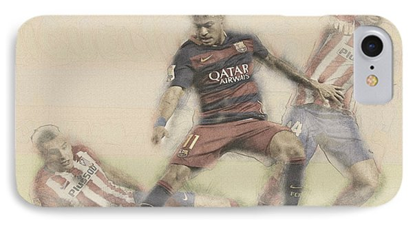 Wayne Rooney iPhone 7 Case - Neymar Fight For The Bal by Don Kuing