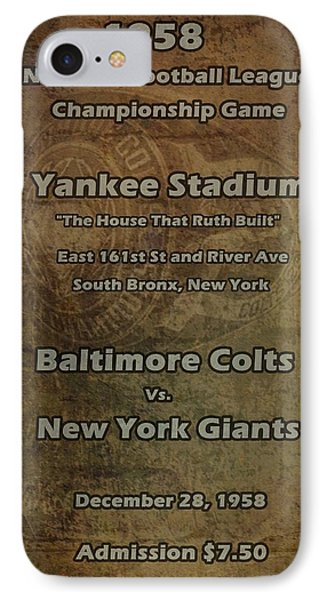 Nfl Championship Game 1958 Phone Case by David Dehner