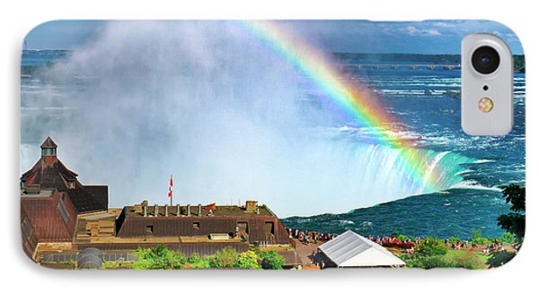 Niagara Falls And Welcome Centre With Rainbow IPhone Case by Charline Xia