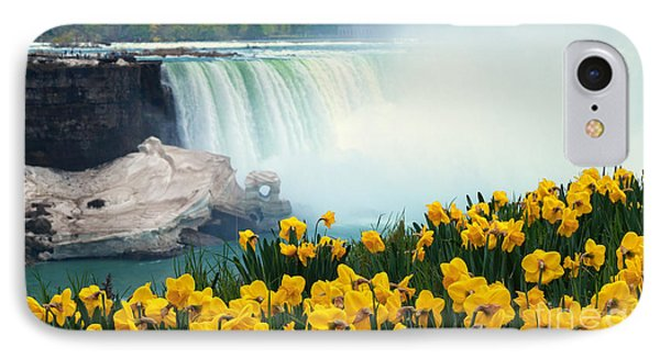 Niagara Falls Spring Flowers And Melting Ice IPhone Case by Charline Xia