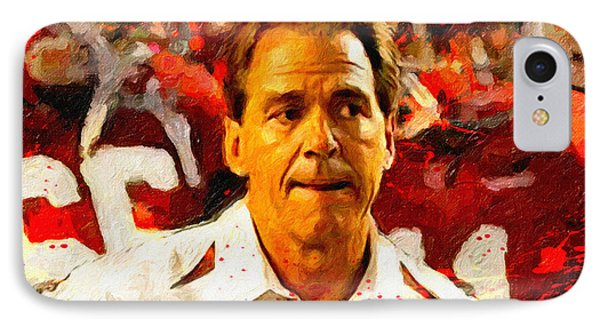 Nick Saban Roll Tide Two IPhone Case by John Farr
