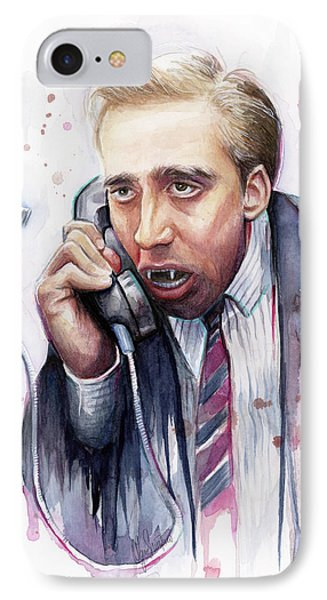Nicolas Cage A Vampire's Kiss Watercolor Art Phone Case by Olga Shvartsur