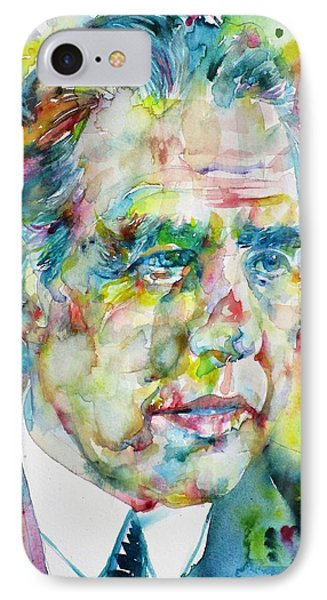 IPhone Case featuring the painting Niels Bohr - Watercolor Portrait by Fabrizio Cassetta