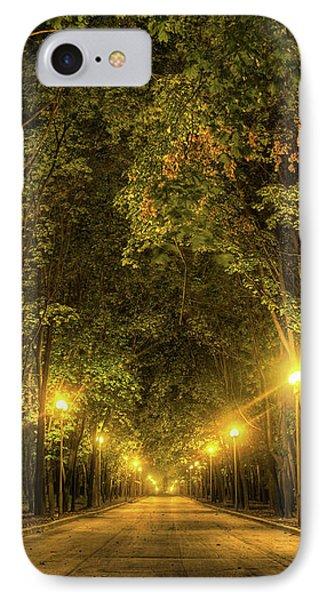 Night Alley Near Lomonosov Moscow University IPhone Case by Alexey Kljatov