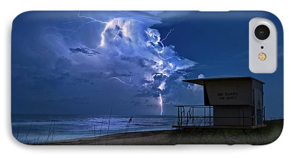 Night Lightning Under Full Moon Over Hobe Sound Beach, Florida IPhone Case by Justin Kelefas
