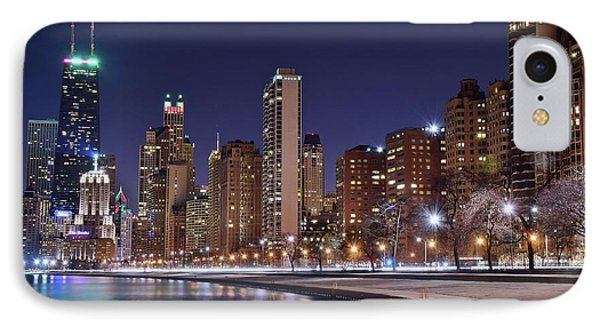 Night Lights On The Lakefront IPhone Case by Frozen in Time Fine Art Photography