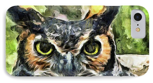 IPhone Case featuring the mixed media Night Owl by Trish Tritz