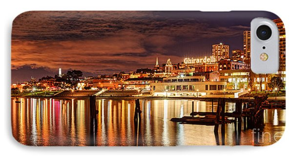 Night Panorama Of Fisherman's Wharf And Ghirardelli Square - San Francisco California IPhone Case by Silvio Ligutti
