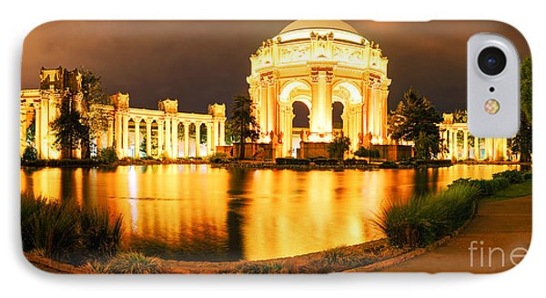 Night Panorama Of Palace Of Fine Arts Theater In Marina District - San Francisco California IPhone Case by Silvio Ligutti