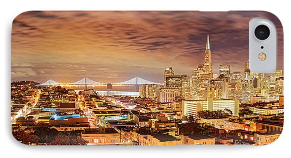 Night Panorama Of San Francisco And Oak Area Bridge From Ina Coolbrith Park - California IPhone Case by Silvio Ligutti