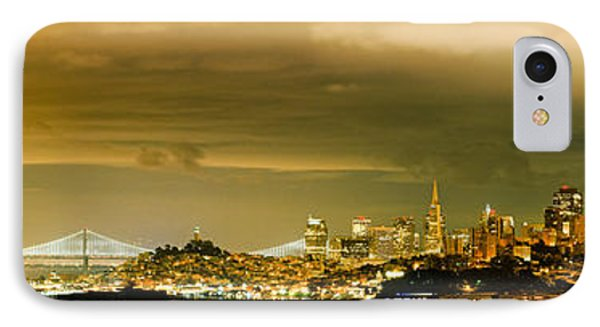 Night Panorama Of San Francisco Skyline With Oakland Bay Bridge - San Francisco California IPhone Case by Silvio Ligutti