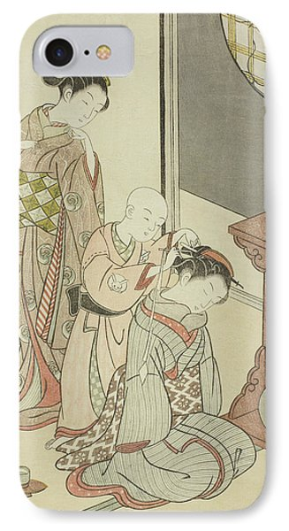 Night Rain Of The Tea Stand IPhone Case by Suzuki Harunobu