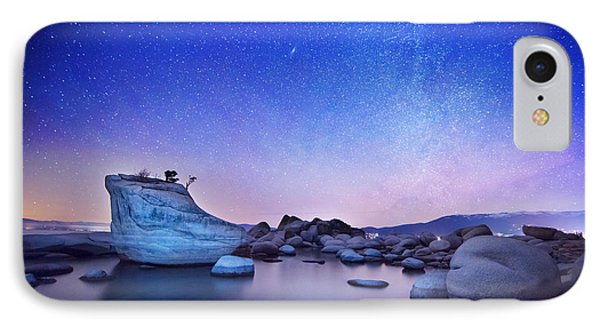 Night Shine , Bonsai Rock Lake Tahoe IPhone Case by Brad Scott