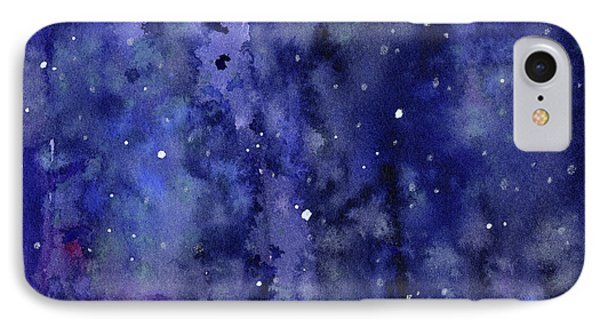Night Sky Watercolor Galaxy Stars IPhone Case by Olga Shvartsur