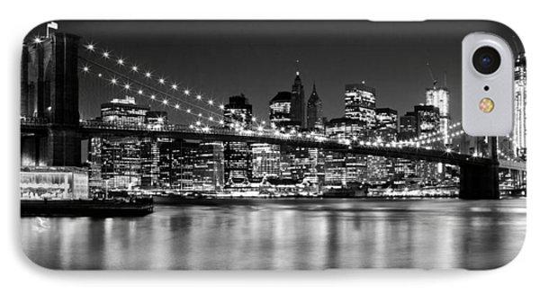 Night Skyline Manhattan Brooklyn Bridge Bw IPhone 7 Case by Melanie Viola