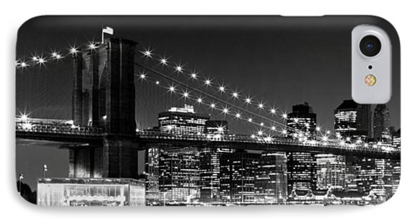 Night Skyline Manhattan Brooklyn Bridge Bw IPhone Case by Melanie Viola