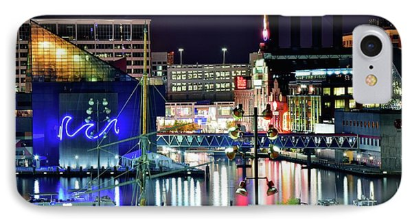Night Time In Baltimore IPhone Case by Frozen in Time Fine Art Photography
