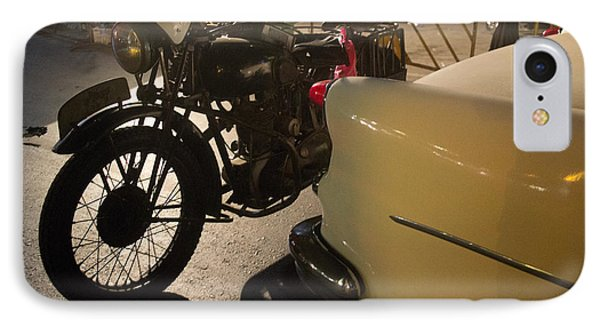 IPhone Case featuring the photograph Night Time Silhouette Of Vintage Motorcycle Near Tail Of 50's St by Jason Rosette