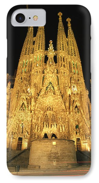 Barcelona iPhone 7 Case - Night View Of Antoni Gaudis La Sagrada by Richard Nowitz