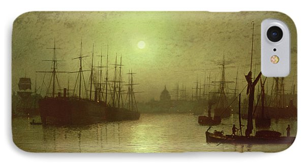 Nightfall Down The Thames IPhone Case by John Atkinson Grimshaw