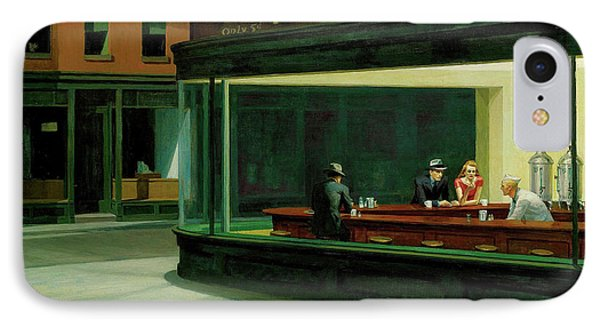 IPhone Case featuring the painting Nighthawks by Artist A