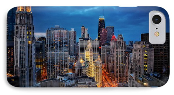 Nighttime Downtown Chicago Cityscape IPhone Case by Jennifer Rondinelli Reilly - Fine Art Photography