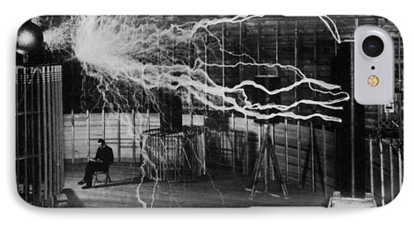 Nikola Tesla - Bolts Of Electricity IPhone Case by War Is Hell Store