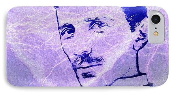 Nikola Tesla Electric Mind IPhone Case by Dan Sproul