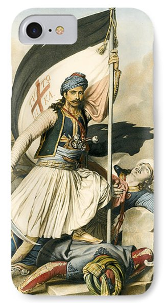 Nikolakis Mitropoulos Raises The Flag With The Cross At Salona On Easter Day 1821 IPhone Case by Louis Dupre