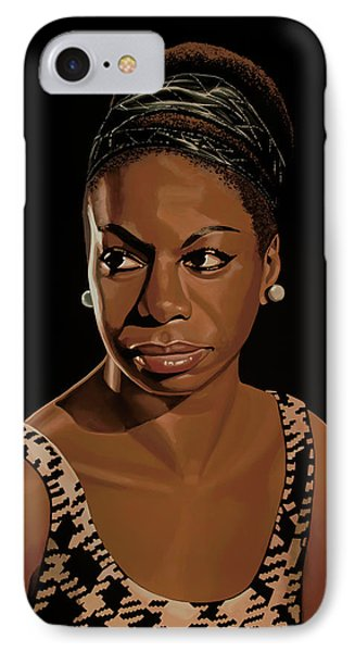 Rhythm And Blues iPhone 7 Case - Nina Simone Painting 2 by Paul Meijering