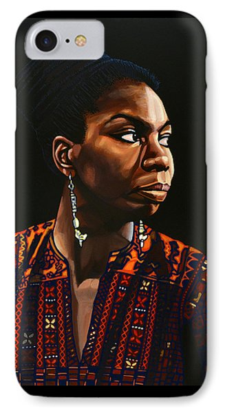Nina Simone Painting IPhone 7 Case by Paul Meijering