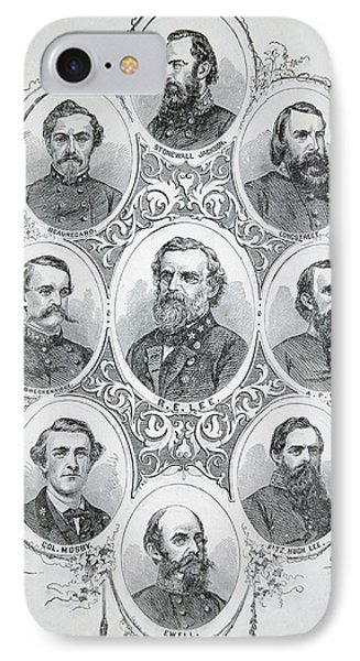 Nine Portraits Of Prominent Generals Of Confederate Army IPhone Case by American School