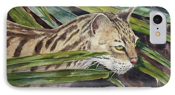 IPhone Case featuring the painting Nirvana - Ocelot by Roxanne Tobaison