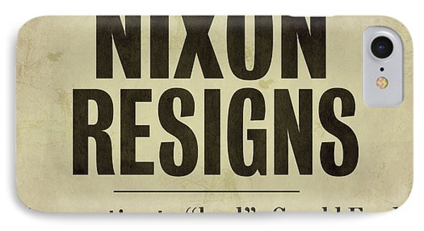 Nixon Resigns Newspaper Headline IPhone Case by Mindy Sommers