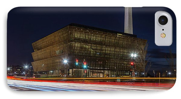 Nmaahc And Traffic Light Trails I IPhone Case by Clarence Holmes