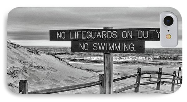 No Lifeguards On Duty Black And White IPhone Case by Paul Ward