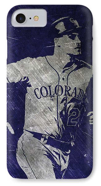 Nolan Arenado Colorado Rockies Art IPhone Case by Joe Hamilton
