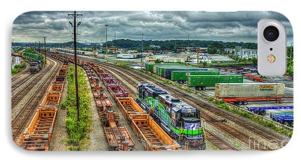 IPhone Case featuring the photograph Norfolk Southern Locomotive 654 Atlanta Inman Yard Intermodal Train Art by Reid Callaway