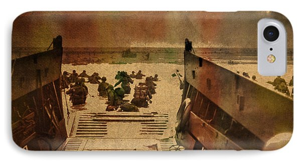 Normandy Beach On Dday World War Two Watercolor Tinted Historical Photograph On Worn Canvas IPhone Case