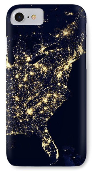 North America At Night IPhone Case by Happy Home Artistry