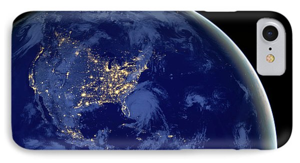 IPhone Case featuring the photograph North America From Space by Delphimages Photo Creations