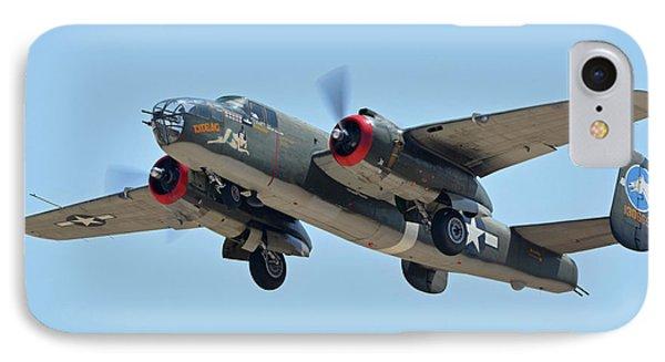 IPhone Case featuring the photograph North American B-25j Mitchell Nl3476g Tondelayo Phoenix-mesa Gateway Airport Arizona April 15, 2016 by Brian Lockett