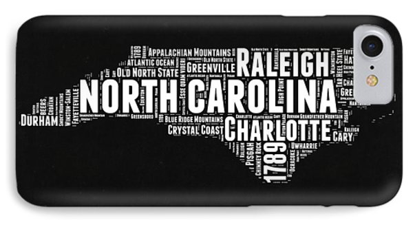 North Carolina Black And White Word Cloud Map IPhone Case by Naxart Studio